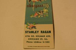 Stanley Ragan Greetings Bells Chicago Illinois 20 Strike Matchbook Cover