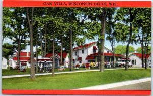 Wisconsin Dells WI Postcard OAK VILLA Cottages & Lodge Roadside Linen c1940s