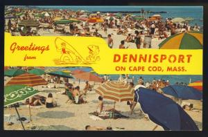 Greetings From Dennisport, Massachusetts/Mass/MA Postcard, Beach/Cape Cod
