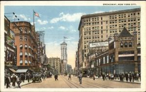 New York City Broadway c1920 Postcard