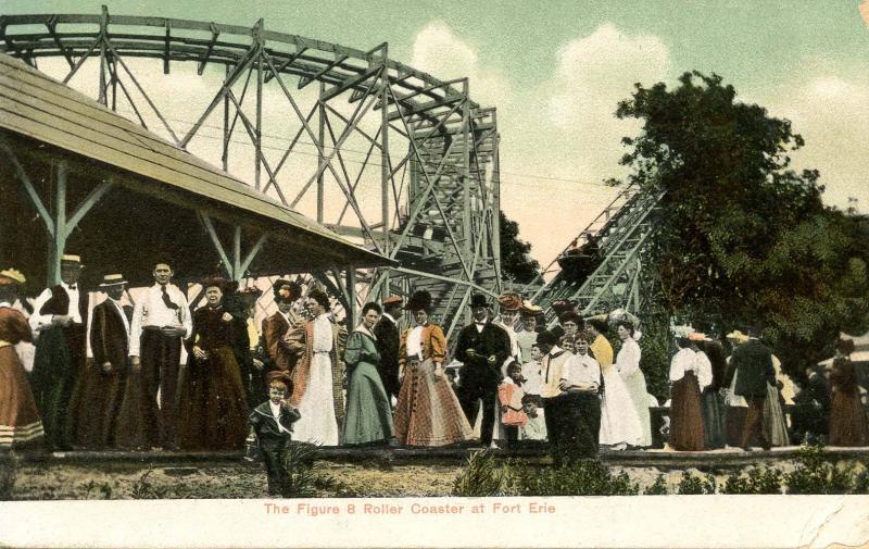 Canada- ON, Fort Erie. Amusement: Figure 8 Roller Coaster, circa 1909