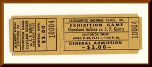 1964 Edmonds Field Ticket, SF Giants/Cleveland Indians,Sacramento,CA, PCL Solons