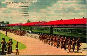 Vtg 1940s Postcard Camp Claiborne LA Troops Arriving To camp 1943 Postmark