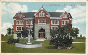 Defiance Ohio~Weston Hall~Defiance College~Fountain~1920s Postcard