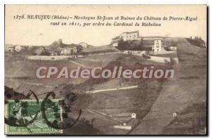 Old Postcard Beaujeu Mountain And Ruins Of St John Castle of Pierre-ras Trebl...