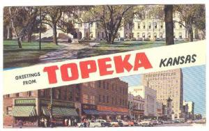 Scenic view of The State Capitol and Main Street in downtownTopeka, Kansas,19...