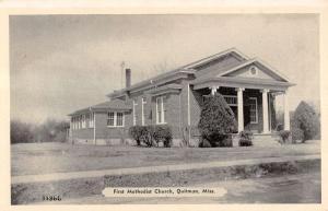Quitman Mississippi First Methodist Church Exterior Antique Postcard K10847