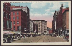 Essex Street,Bay State Building,Lawrence,MA Postcard