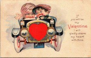 Be My Valentine - Boy Girl Driving - HEARTS - Car VINTAGE - POSTCARD PC HEART