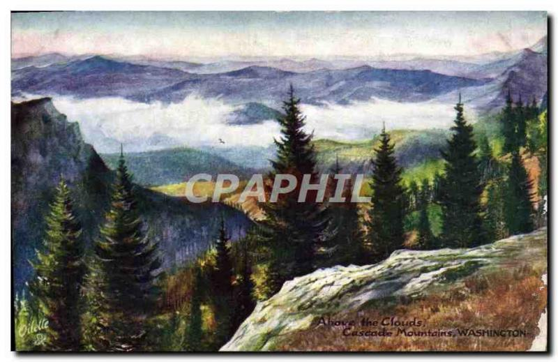 Old Postcard Above the Clouds Cascade Mountains Washington