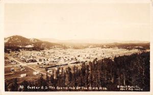 Custer South Dakota Birdseye View Of City Real Photo Antique Postcard K98621