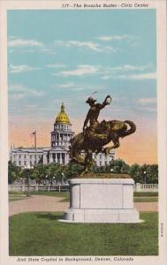 Colorado Denver The Broncho Buster Civic Center And State Capitol In Backgound