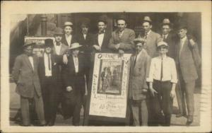 Theatre Vaudeville Poster Men Canton IL 1910 Cancel Real Photo Postcard