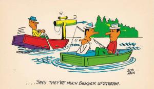 AS: ....Says they're much bigger upstream, Fisherman with harpoon gun, Fish...