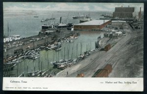 Galveston Texas tx Harbor and Bay looking East old postcard