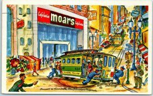 San Francisco CA Artist-Signed TED LEWY Postcard MOAR'S CAFETERIA 1955 Cancel