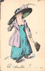 Fancy Fashion Giant Hat Dress Clothing, La Mode!... C.M. Postcard