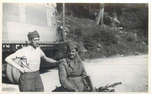 Swiss army military men soldiers snapshot real photo postcard
