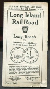 F11 - LONG ISLAND RAILROAD 1931 Timetable. Long Beach Branch Stations