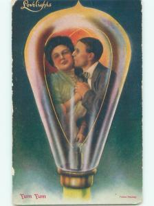 c1910 ROMANTIC COUPLE IN LIGHTBULB - MAYBE AN EDISON AC5114