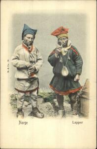 Norge Norway Ethnic Costume Lapplanders Lapper Smoking c1905 Postcard