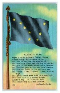 Postcard AK Alaska's Flag linen AJ13