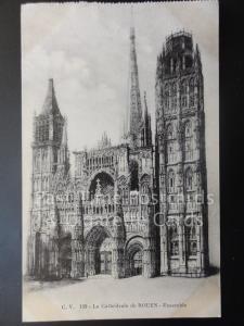 France: ROUEN, La Cathedrale de Rouen, Ensemble, Old Postcard 170515