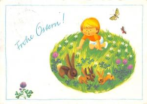 Frohe Ostern Boy Child Rabbits Flowers Butterflies Happy Easter