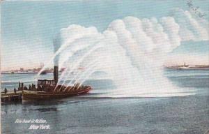 Fireboat In Action New York 1907