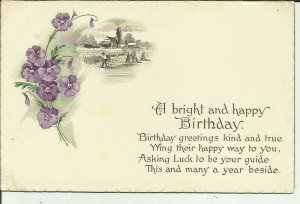 A Bright and Happy Birthday-- Purple Flowers