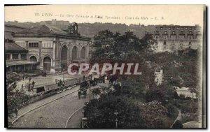 Postcard Old Lyon Perrache Station and Hotel du Midi Terminaus Curs