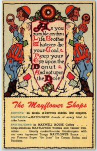 1940s MAYFLOWER DONUT SHOPS Advertising Postcard Maxwell House Coffee - Linen