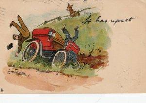 AS; LANCE THACKERAY; Donkey watching automobile upset, PU-1905; TUCK # 641