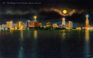 Florida Miami Skyline At Night 1953