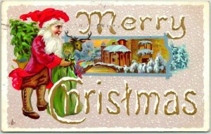 1912 MERRY CHRISTMAS Large Letter Greetings Postcard Elf w/ Gifts STECHER 250B
