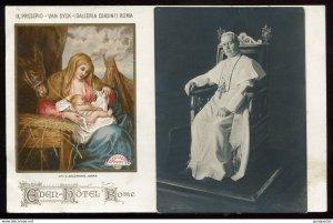 dc1722- ITALY Rome 1910s Eden Hotel Advertising. Galleria Corsini Nativity Scene