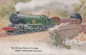 GWR Great Western Railway Cornish Riviera Express  Old Advertising Postcard