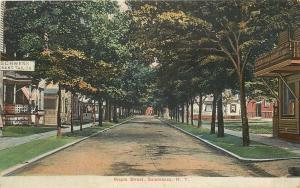 Salamanca New York~US Flags on Maple Street Homes~Merchant Tailor~1910 Postcard
