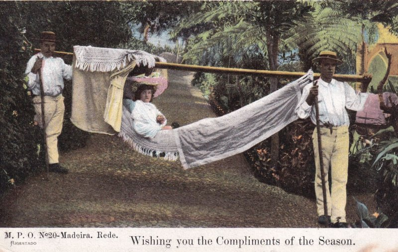 MADIERA, Portugal, 1900-10s; Wishing you the Compliments of the Season, Woman...