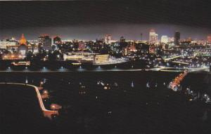 Edmonton Skyline At Night, Edmonton, Alberta, Canada, 1950-1960s