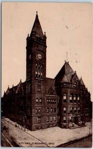 Cincinnati, Ohio Postcard CITY HALL Building / Street View w/ 1910 Cancel