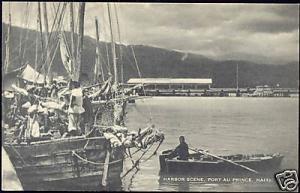 haiti PORT-au-PRINCE, Harbor Scene, Rowing Boat, Fisher
