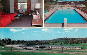 Norwich Ohio~Bakers Motel~National Highway 40~Room Interior~Pool~1950s Postcard