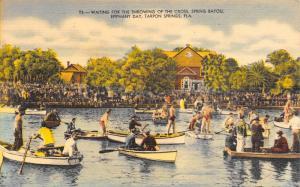 Tarpon Springs Florida~Spring Bayou~Epiphany Day~Boats Waiting~Cross~1950 Linen