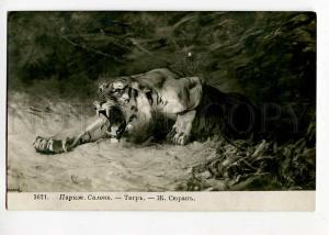 264314 HUNT Hungry TIGER Wild Cat by SURAND vintage SALON PC