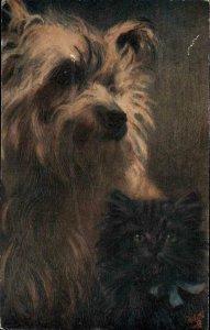 TUCK Pet Dog & Kitten Cat Maud West Watson c1910 Postcard