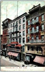 New York City Chinatown Postcard Mott St. Storefronts Awnings 1907 NY Cancel