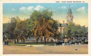 Court House Waukegan Illinois 1930s postcard