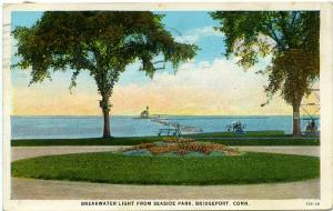 The Breakwater Light from Seaside Park - Bridgeport CT Connecticut - pm 1929