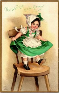 Vintage St. Patrick's Day Postcard -  Girl In Green - unposted